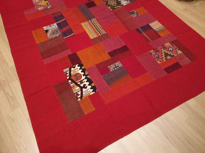 kilim patchwork turc rouge