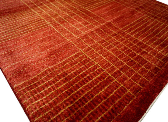 tapis moderne rouge or