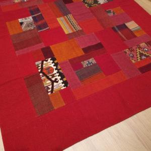 tapis kilim patchwork dégradé rouge