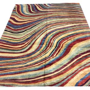 Grand tapis moderne noué main multicolor