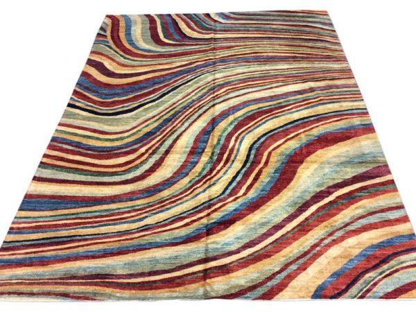 Grand tapis moderne noué main multicolor