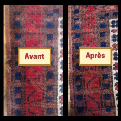 travaux de reparation effectués sur tapis persan