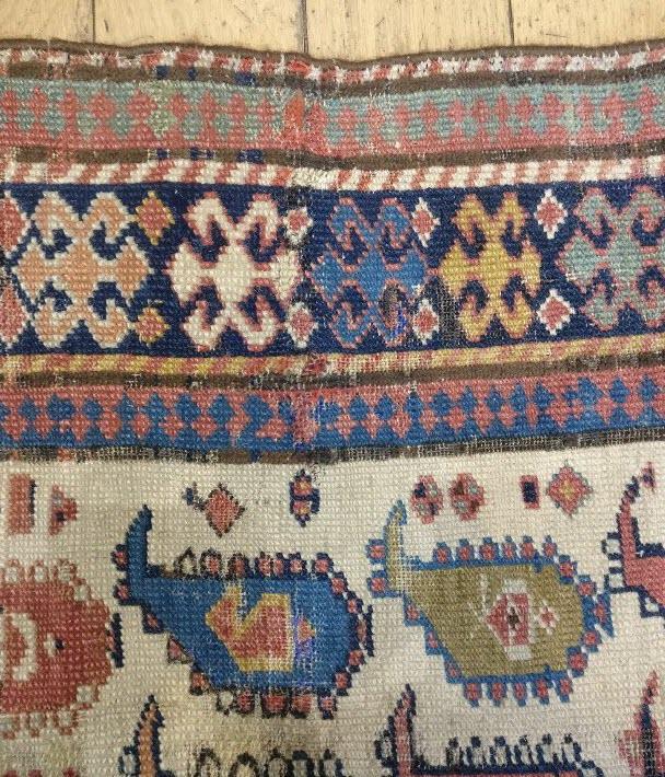 restauration de tapis caucase daghestan après
