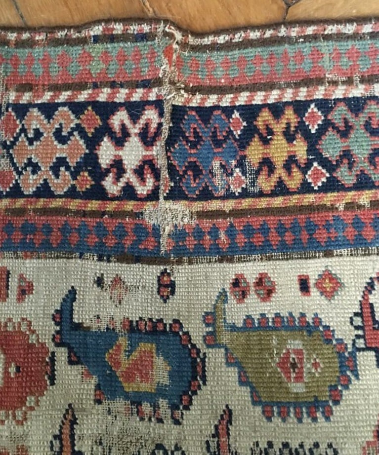 restauration de tapis caucase daghestan avant