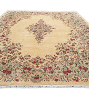 tapis iranien kirman grande taille fond beige