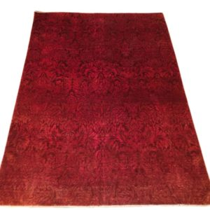 Tapis moderne rouge faux unis 1