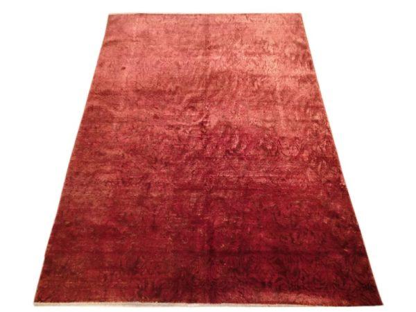 Tapis moderne rouge noué main dessin faux uni floraux 2