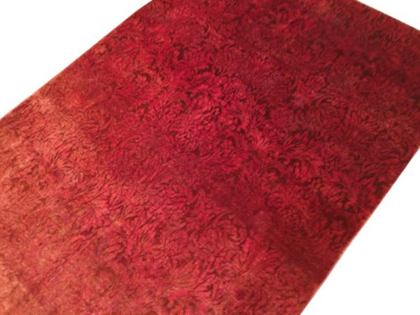 Tapis moderne rouge noué main dessin faux uni floraux 3