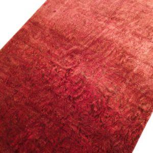 Tapis moderne rouge noué main dessin faux uni floraux 4