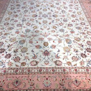 grand tapis iranien tabriz soie fond creme