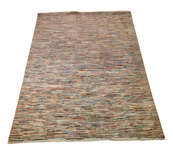 tapis afghan moderne rayure multicolor 2