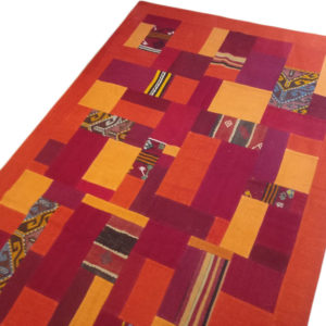 tapis patchwork rouge orange 2