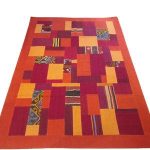 tapis patchwork rouge orange
