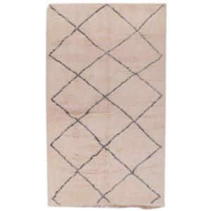 tapis beni ouarain noué main losange noir et blanc fin
