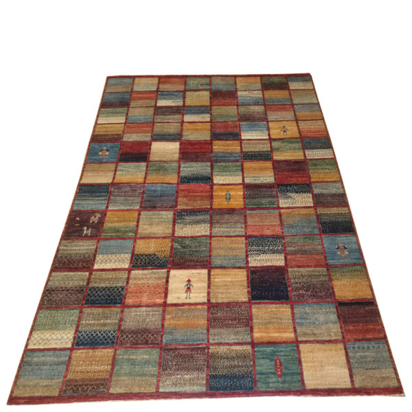 tapis modcar afghan damier multicolor style gabbeh 1