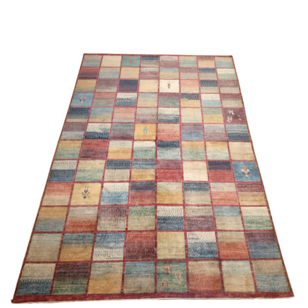 tapis modcar afghan damier multicolor style gabbeh