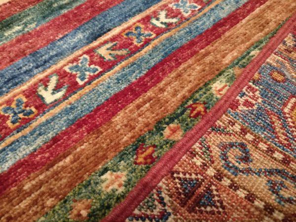 vue zoomée tapis afghan khorjin multicolor