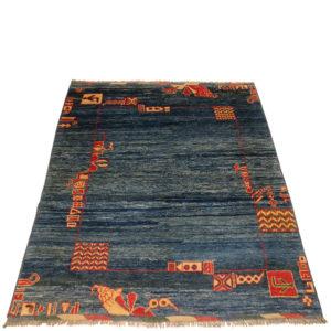 tapis bleu chiné unis fait main