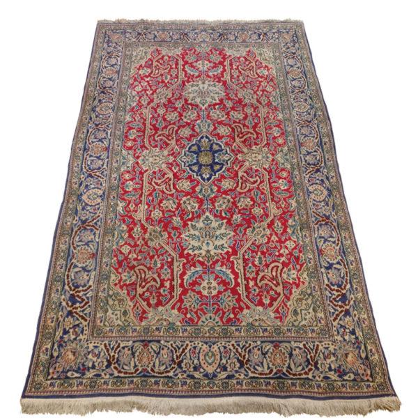 tapis iranien à fleurs rouge bleu