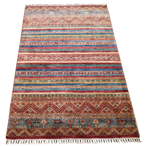 tapis khorjin afghan multicolor rouge bleu