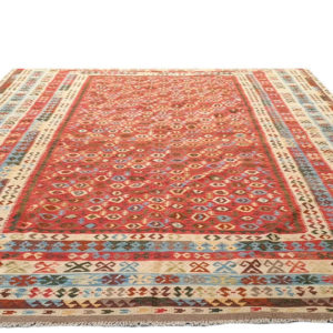 Grand kilim afghan fond rouge 500 cm x 300 cm