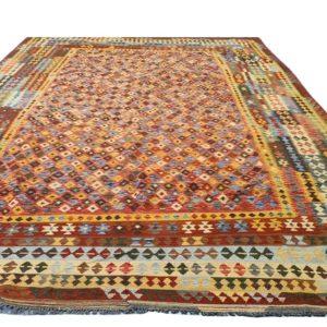 tres grand kilim afghan avec multiples bordures